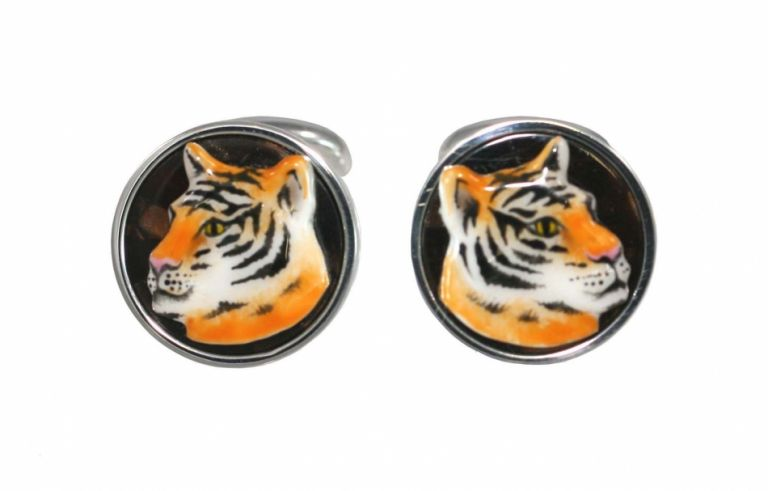 Cufflinks Tiger in sterling silver and enamels URSO