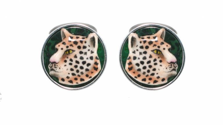 Cufflinks Leopard in sterling silver and enamels URSO