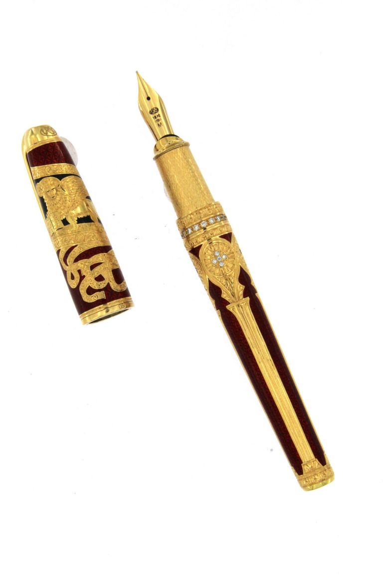 Fountain pen Venice in solid gold 18 kt and diamonds