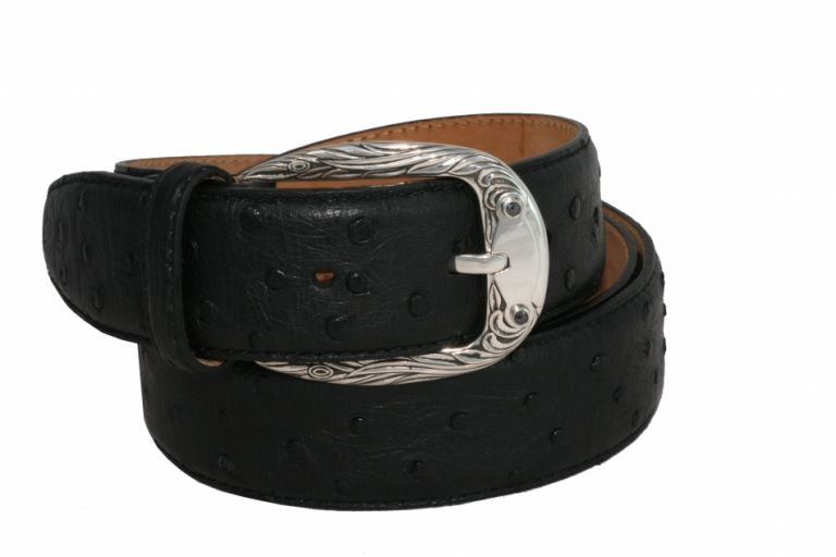 BELT PHOENIX IN OSTRICH AND BUCKLE IN STERLING SILVER WITH BLACK DIAMONDS URSO