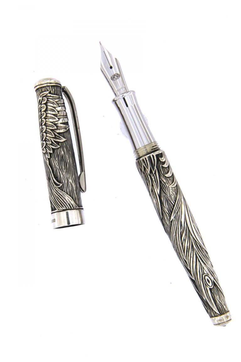 FOUNTAIN PEN PHOENIX OLD STYLE IN SOLID STERLING SILVER URSO