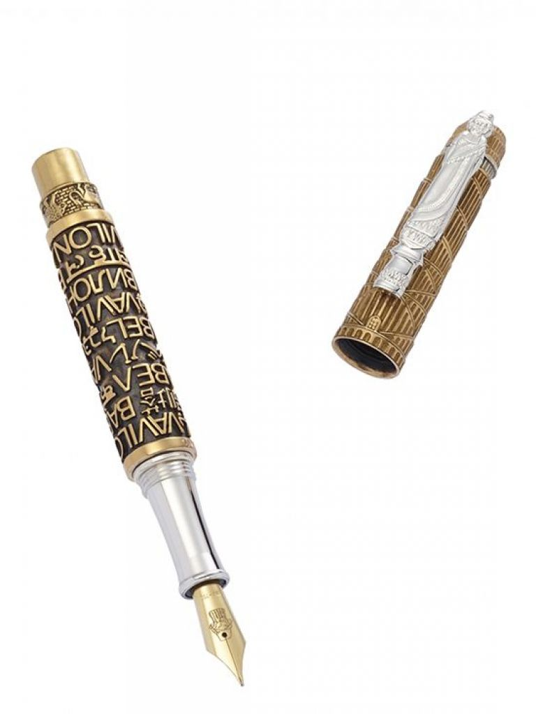 FOUNTAIN PEN BABEL BRONZE AND STERLING SILVER URSO