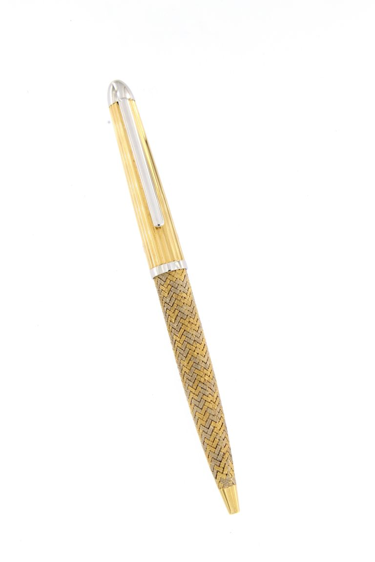 ATHENA PEN IN YELLOW AND WHITE SOLID GOLD 18 kt URSO