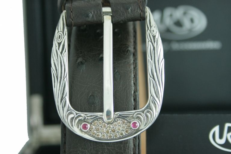 BELT PHOENIX IN OSTRICH AND BUCKLE IN STERLING SILVER WITH BROWN DIAMONDS AND RUBINS